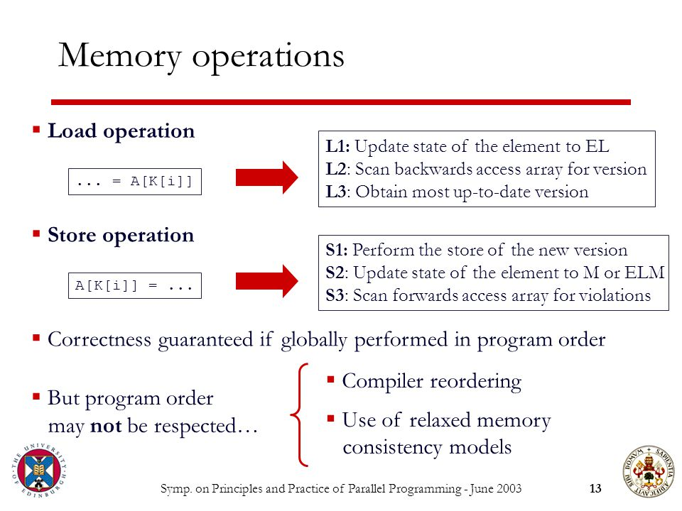 Symp. on Principles and Practice of Parallel Programming - June Memory operations...