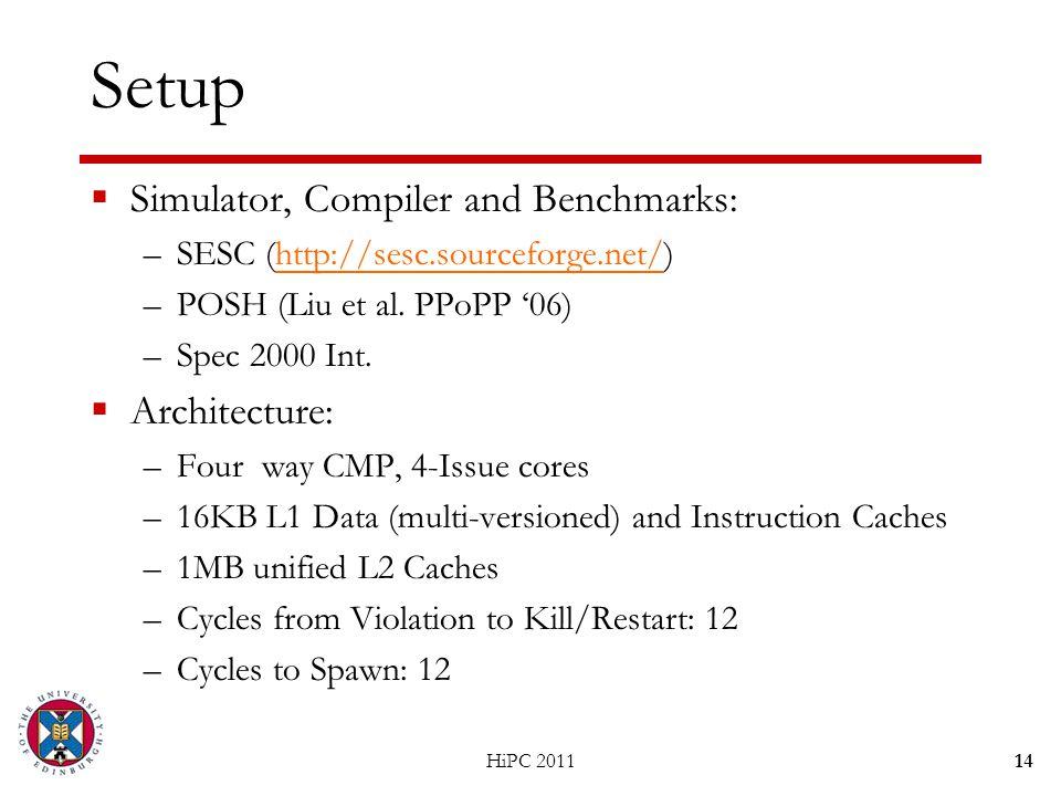 Setup  Simulator, Compiler and Benchmarks: –SESC (http://sesc.sourceforge.net/)http://sesc.sourceforge.net/ –POSH (Liu et al.