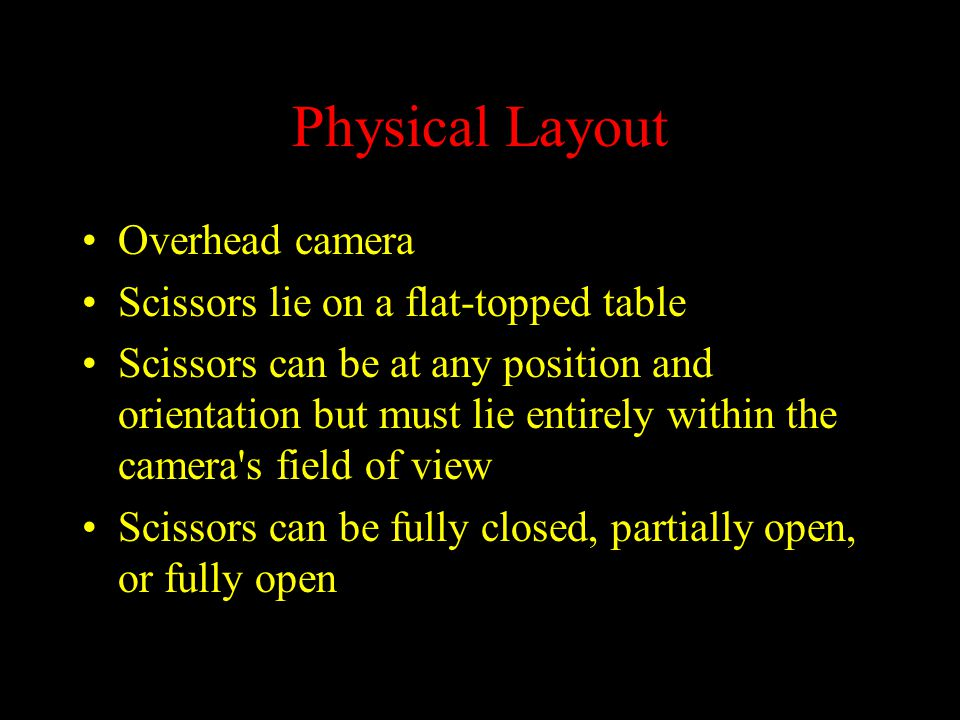 Physical Layout Overhead camera Scissors lie on a flat-topped table Scissors can be at any position and orientation but must lie entirely within the c