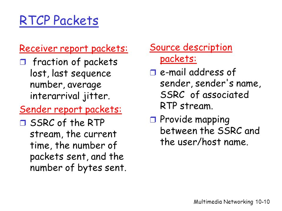 Multimedia Networking10-10 RTCP Packets Receiver report packets: r fraction of packets lost, last sequence number, average interarrival jitter. Sender