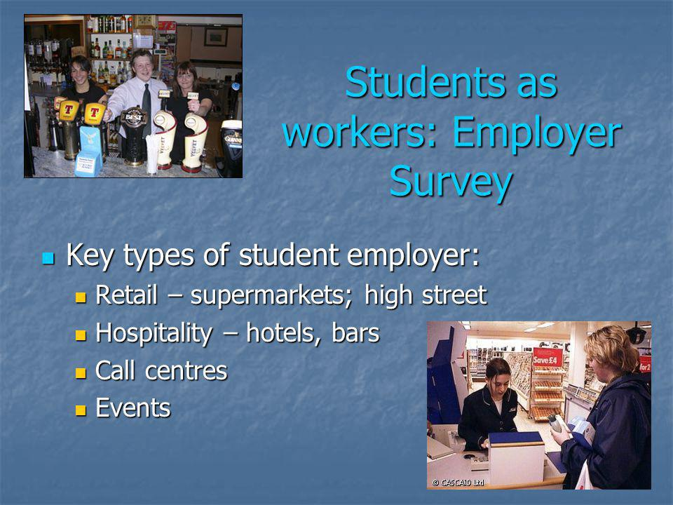 Students as workers: Employer Survey Key types of student employer: Key types of student employer: Retail – supermarkets; high street Retail – supermarkets; high street Hospitality – hotels, bars Hospitality – hotels, bars Call centres Call centres Events Events