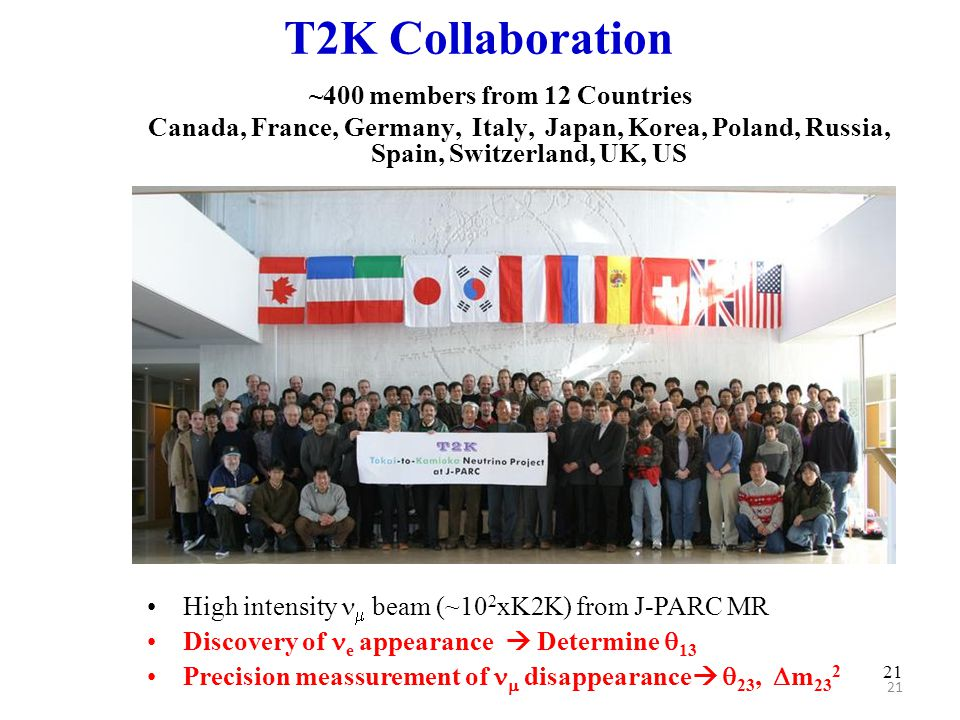 21 T2K Collaboration ~400 members from 12 Countries Canada, France, Germany, Italy, Japan, Korea, Poland, Russia, Spain, Switzerland, UK, US High inte