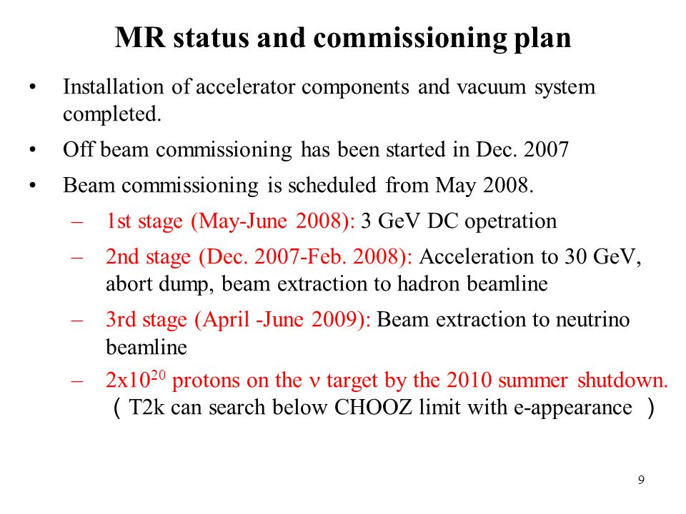 9 MR status and commissioning plan Installation of accelerator components and vacuum system completed.