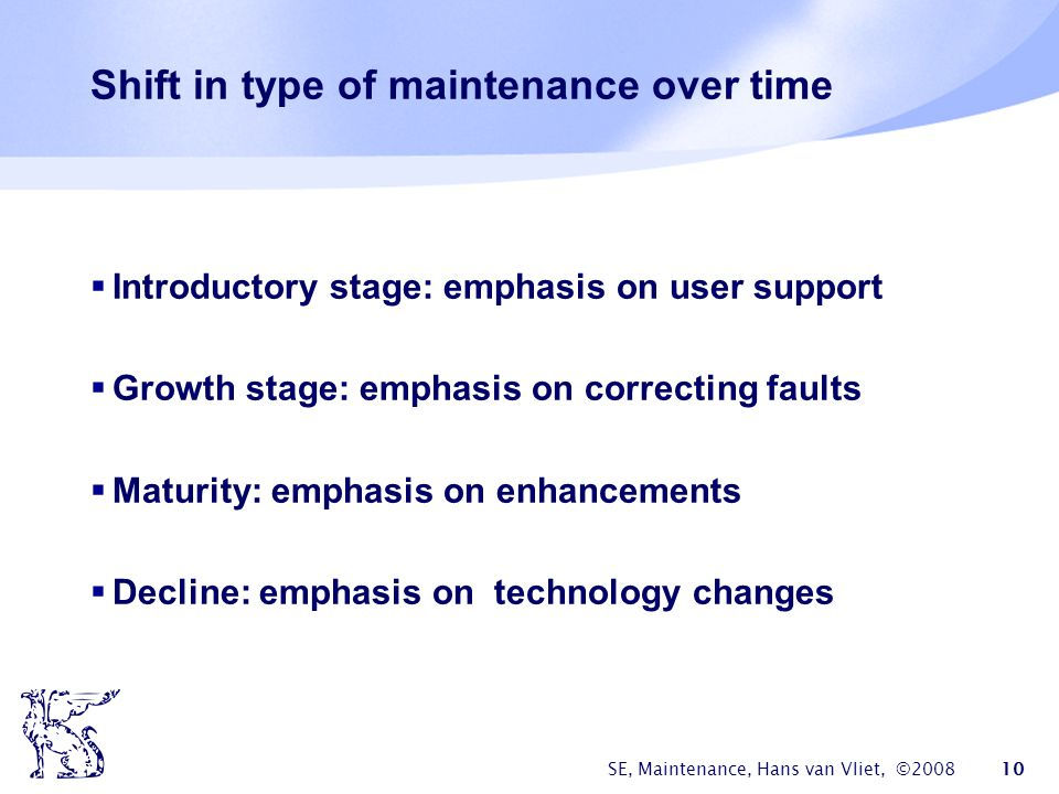 SE, Maintenance, Hans van Vliet, ©2008 10 Shift in type of maintenance over time  Introductory stage: emphasis on user support  Growth stage: emphas