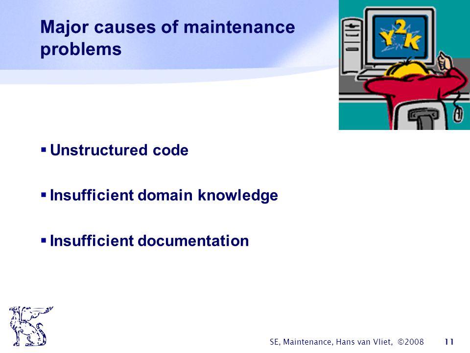 SE, Maintenance, Hans van Vliet, ©2008 11 Major causes of maintenance problems  Unstructured code  Insufficient domain knowledge  Insufficient docu