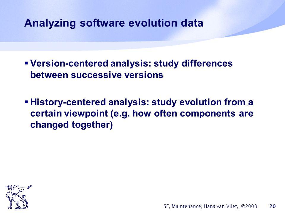 SE, Maintenance, Hans van Vliet, ©2008 20 Analyzing software evolution data  Version-centered analysis: study differences between successive versions