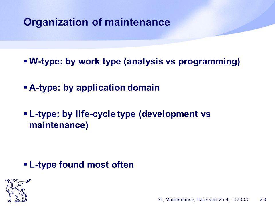 SE, Maintenance, Hans van Vliet, ©2008 23 Organization of maintenance  W-type: by work type (analysis vs programming)  A-type: by application domain