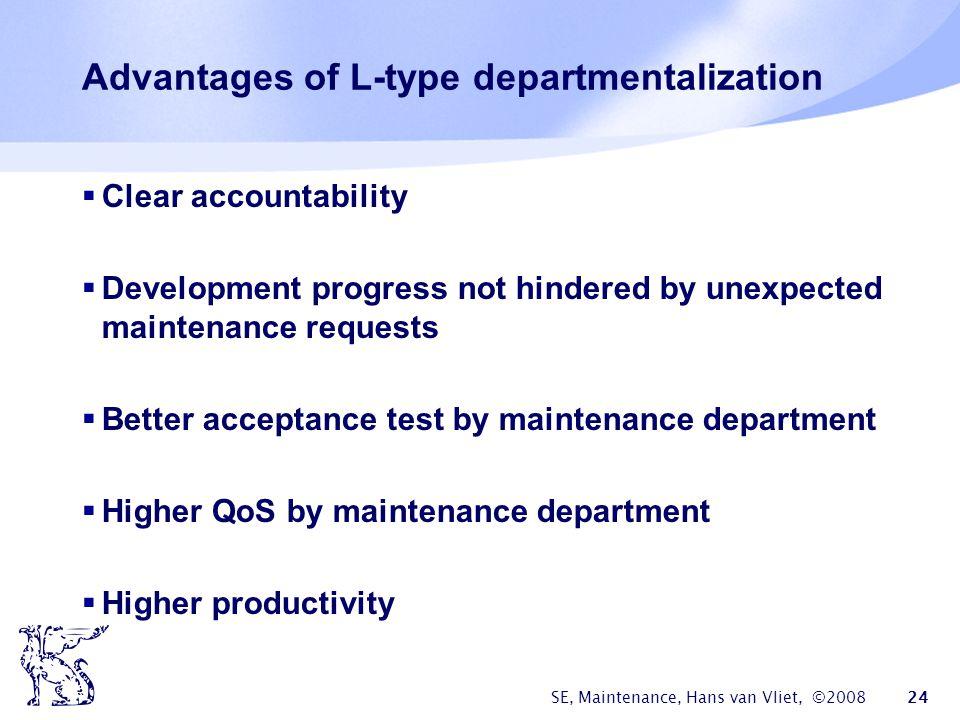 SE, Maintenance, Hans van Vliet, ©2008 24 Advantages of L-type departmentalization  Clear accountability  Development progress not hindered by unexp