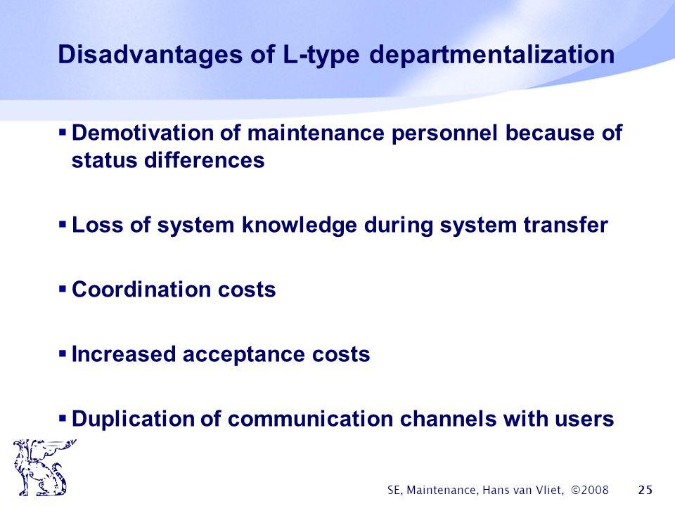 SE, Maintenance, Hans van Vliet, ©2008 25 Disadvantages of L-type departmentalization  Demotivation of maintenance personnel because of status differ
