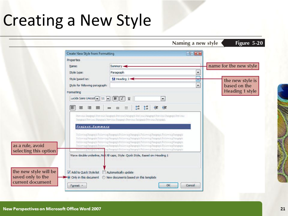 XP Creating a New Style New Perspectives on Microsoft Office Word 200721