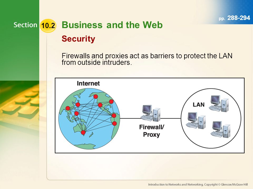 10.2 pp. 288-294 Security Firewalls and proxies act as barriers to protect the LAN from outside intruders. Business and the Web
