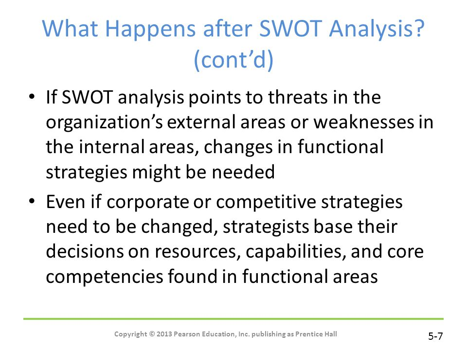 5-7 Copyright © 2013 Pearson Education, Inc. publishing as Prentice Hall What Happens after SWOT Analysis? (cont'd) If SWOT analysis points to threats