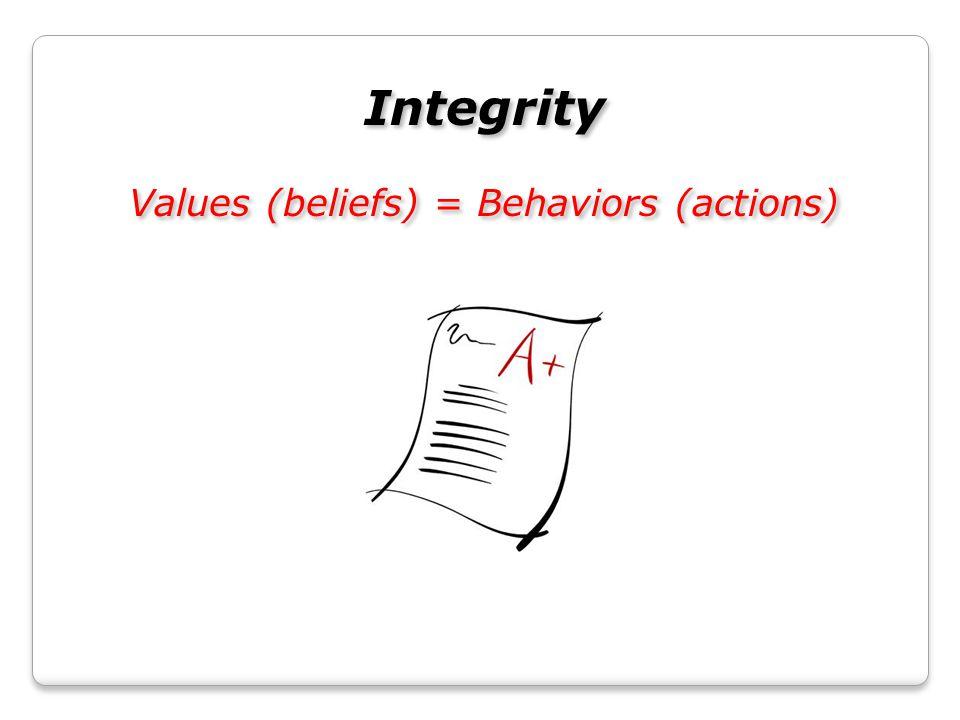 Integrity Values (beliefs) = Behaviors (actions) Integrity Values (beliefs) = Behaviors (actions)