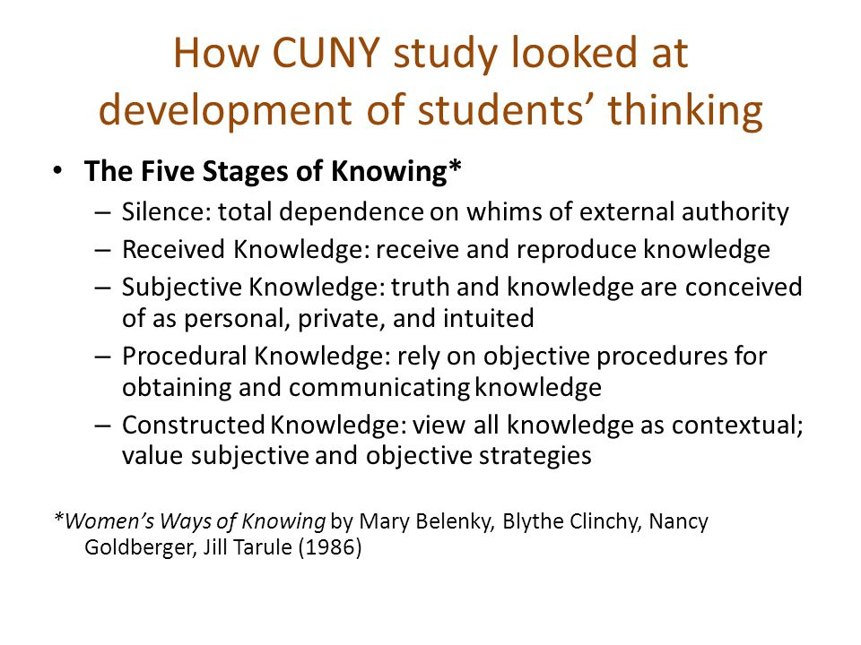 How CUNY study looked at development of students' thinking The Five Stages of Knowing* – Silence: total dependence on whims of external authority – Received Knowledge: receive and reproduce knowledge – Subjective Knowledge: truth and knowledge are conceived of as personal, private, and intuited – Procedural Knowledge: rely on objective procedures for obtaining and communicating knowledge – Constructed Knowledge: view all knowledge as contextual; value subjective and objective strategies *Women's Ways of Knowing by Mary Belenky, Blythe Clinchy, Nancy Goldberger, Jill Tarule (1986)