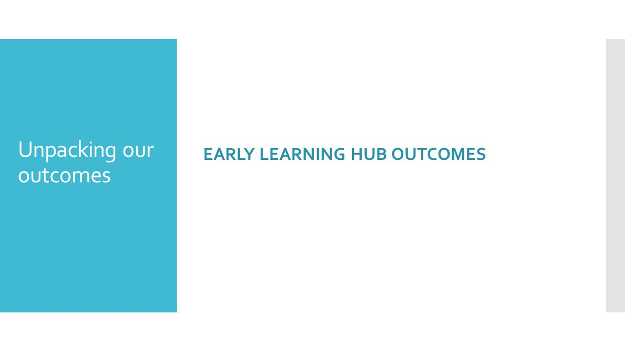 Unpacking our outcomes EARLY LEARNING HUB OUTCOMES