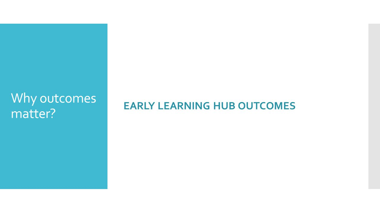 Why outcomes matter? EARLY LEARNING HUB OUTCOMES