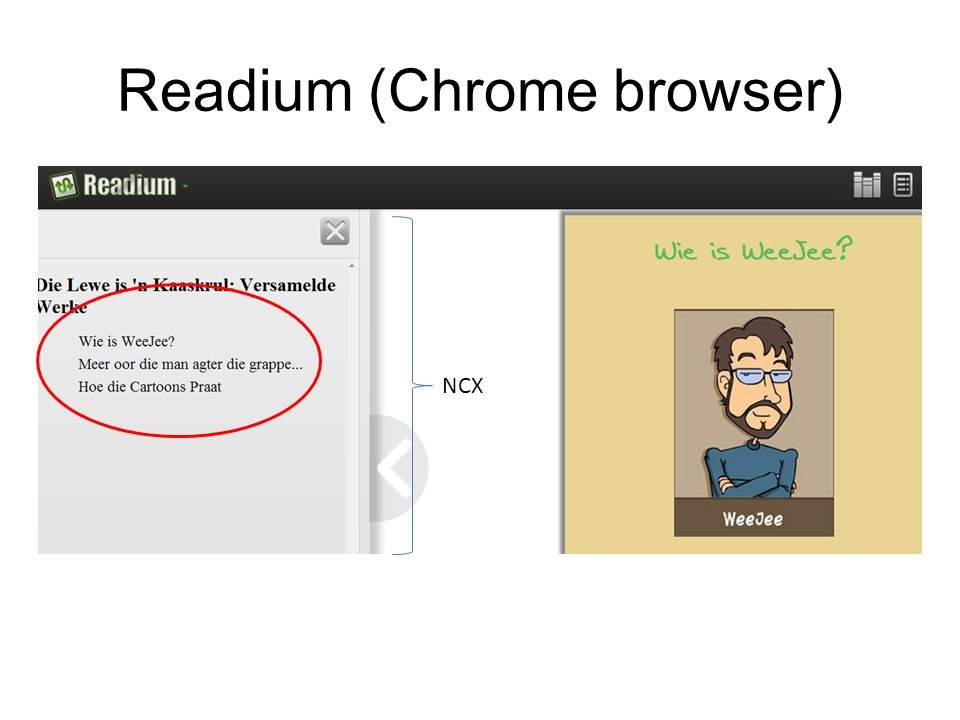 Readium (Chrome browser) NCX