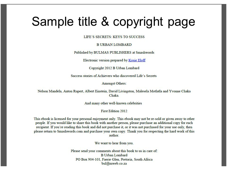 Sample title & copyright page
