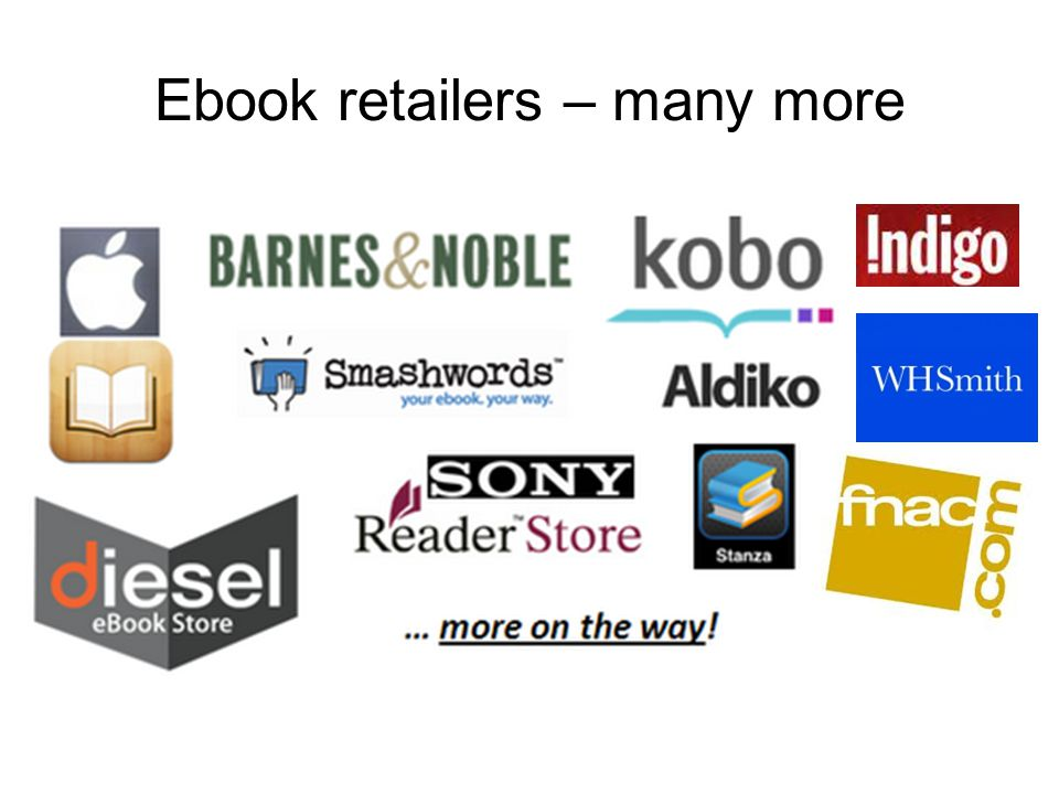 Ebook retailers – many more