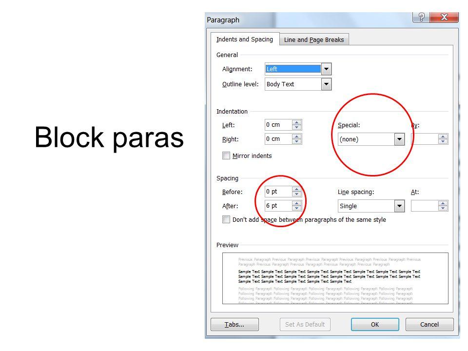 Block paras