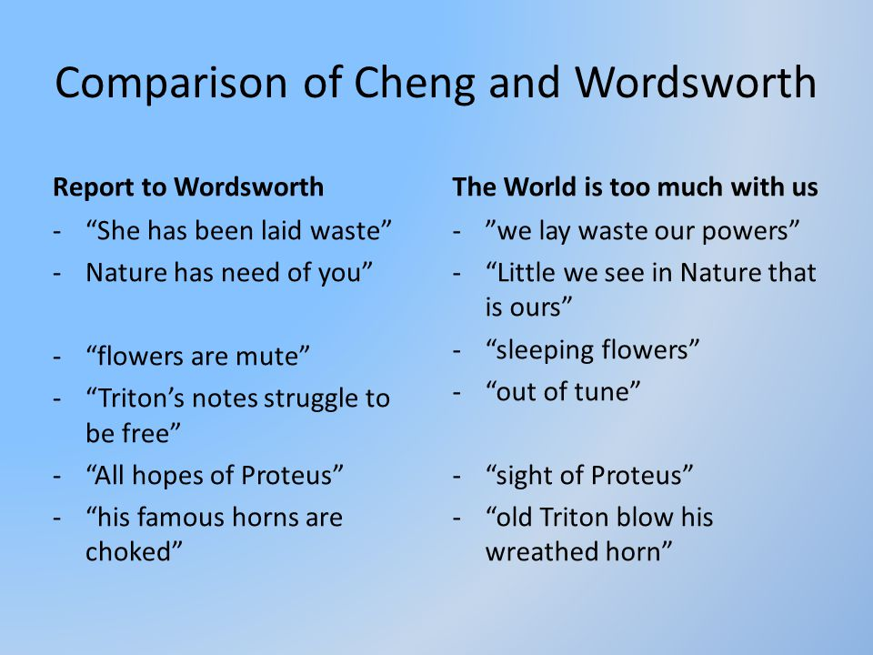 "Comparison of Cheng and Wordsworth Report to Wordsworth -""She has been laid waste"" -Nature has need of you"" -""flowers are mute"" -""Triton's notes strug"