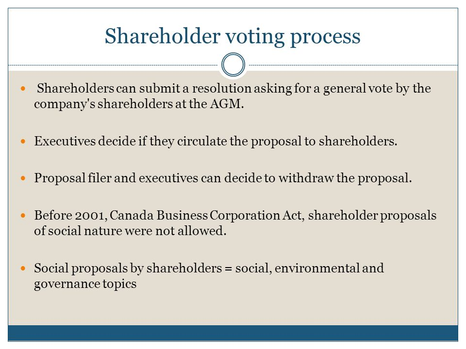Shareholder voting process Shareholders can submit a resolution asking for a general vote by the company s shareholders at the AGM.