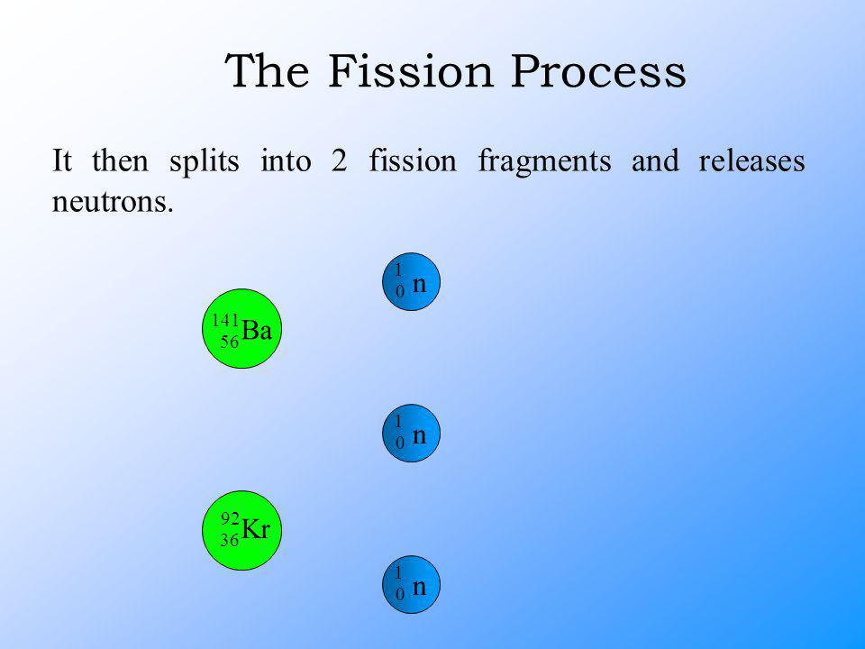 It then splits into 2 fission fragments and releases neutrons.