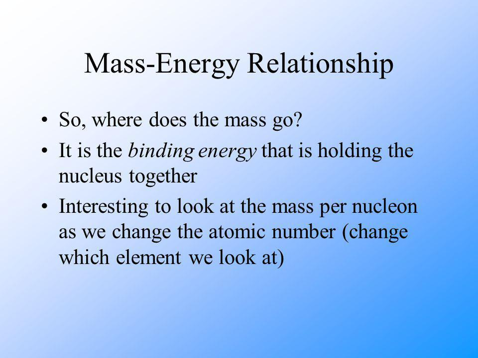 Mass-Energy Relationship So, where does the mass go.