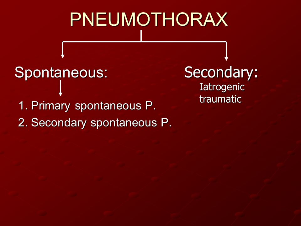 PNEUMOTHORAXSpontaneous: 1. Primary spontaneous P. 2. Secondary spontaneous P. Secondary:Iatrogenictraumatic
