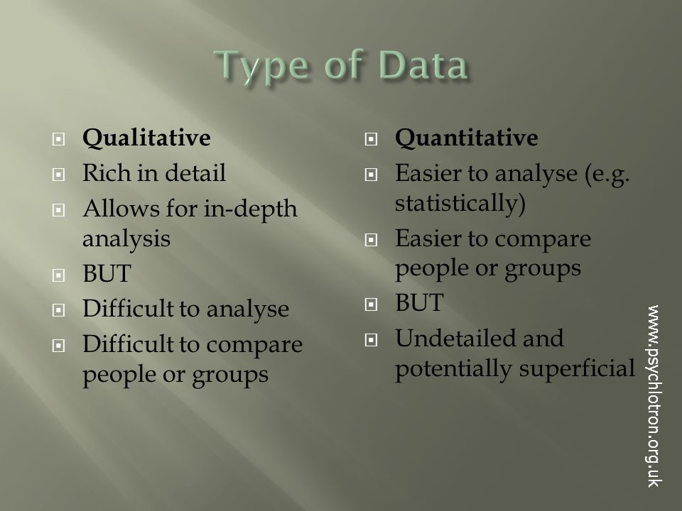  Qualitative  Rich in detail  Allows for in-depth analysis  BUT  Difficult to analyse  Difficult to compare people or groups  Quantitative  Easier to analyse (e.g.