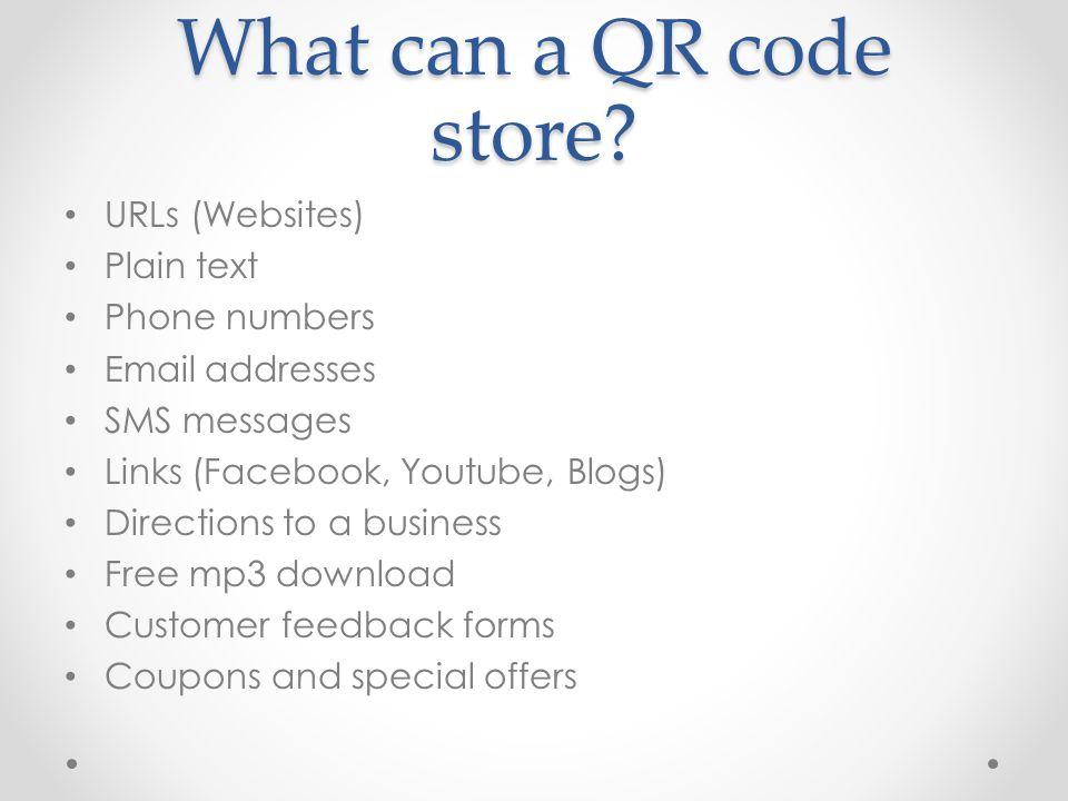 Websites to use www.qrstuff.com qrcode.kaywa.com http://delivr.com/qr-code-generator www.scanlife.com