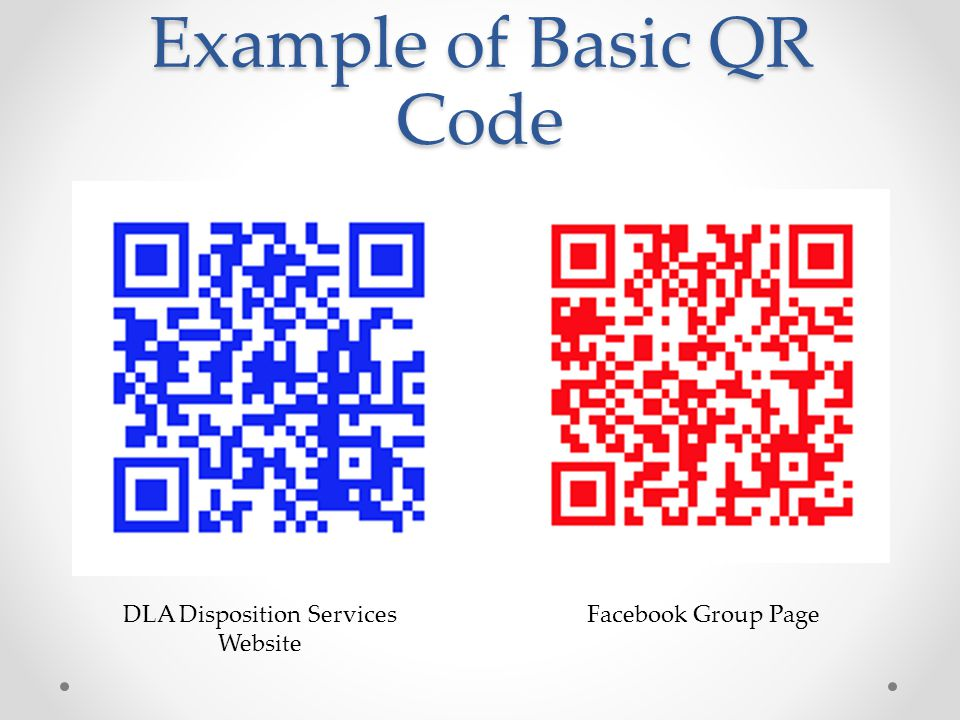 Example of Basic QR Code DLA Disposition Services Website Facebook Group Page