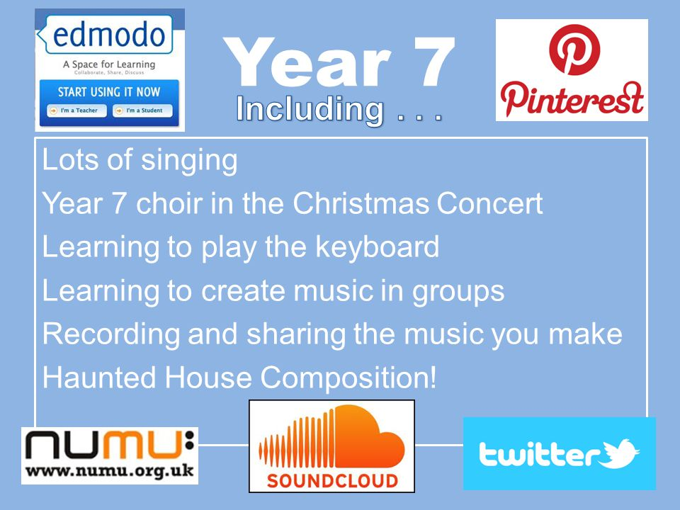 Year 7 Lots of singing Year 7 choir in the Christmas Concert Learning to play the keyboard Learning to create music in groups Recording and sharing the music you make Haunted House Composition!