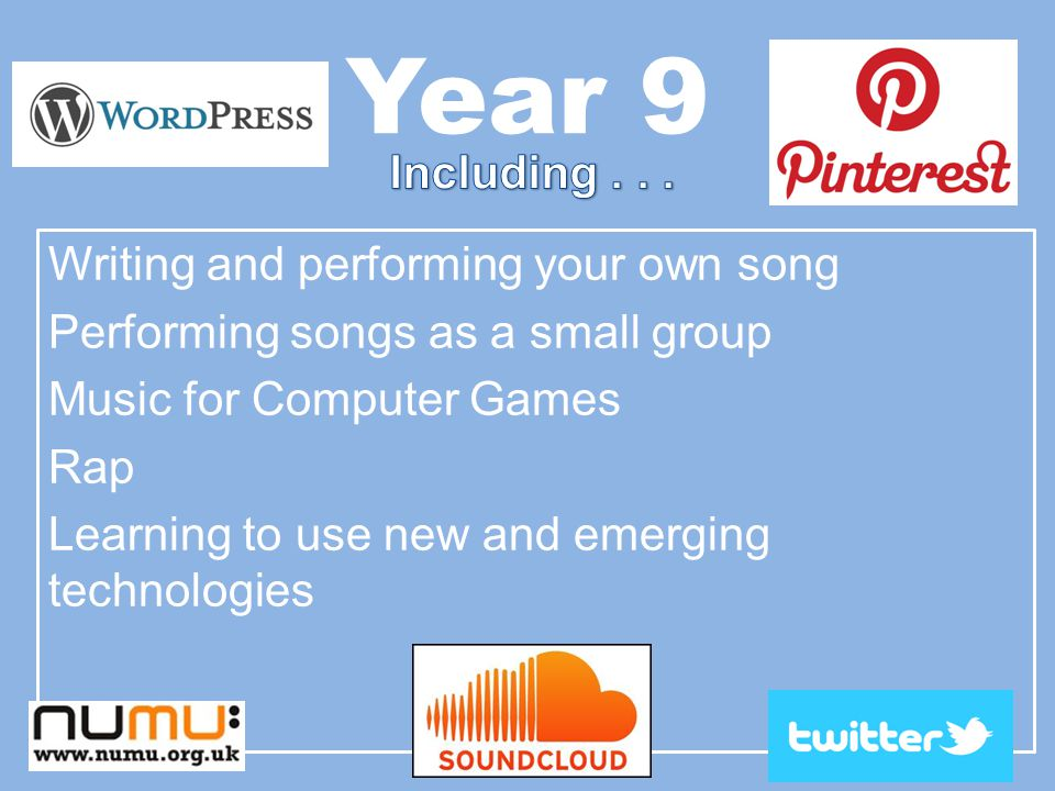 Year 9 Writing and performing your own song Performing songs as a small group Music for Computer Games Rap Learning to use new and emerging technologies