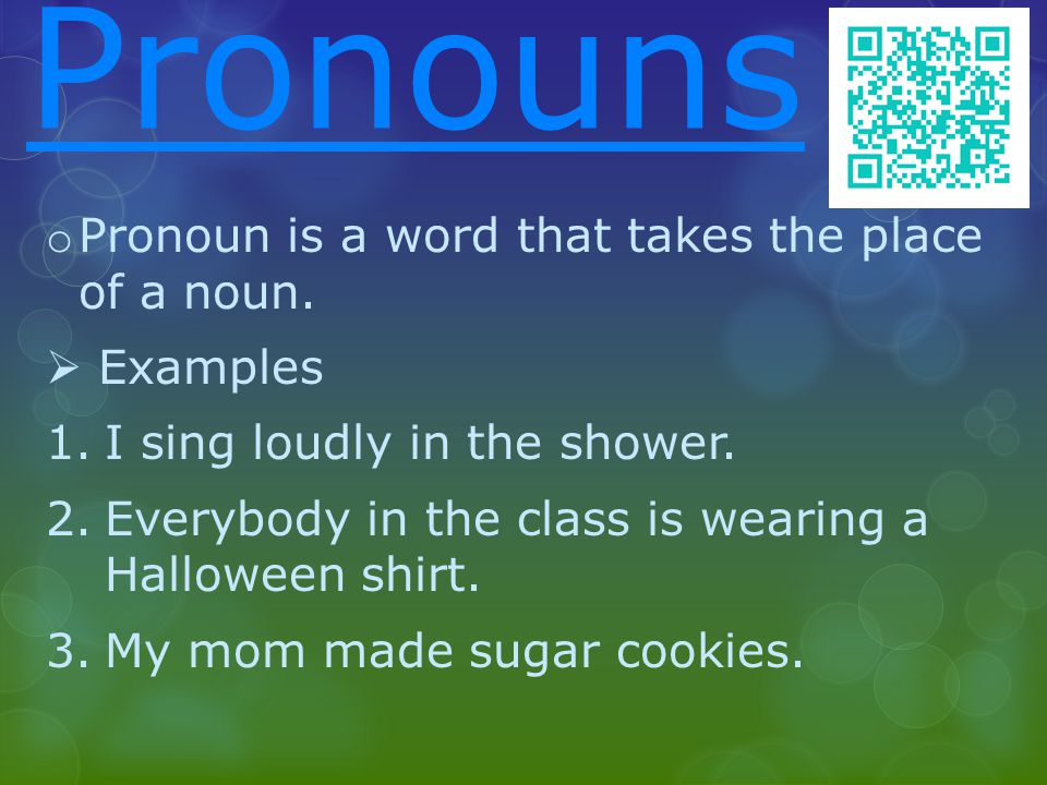 Pronouns o Pronoun is a word that takes the place of a noun.  Examples 1.I sing loudly in the shower. 2.Everybody in the class is wearing a Halloween