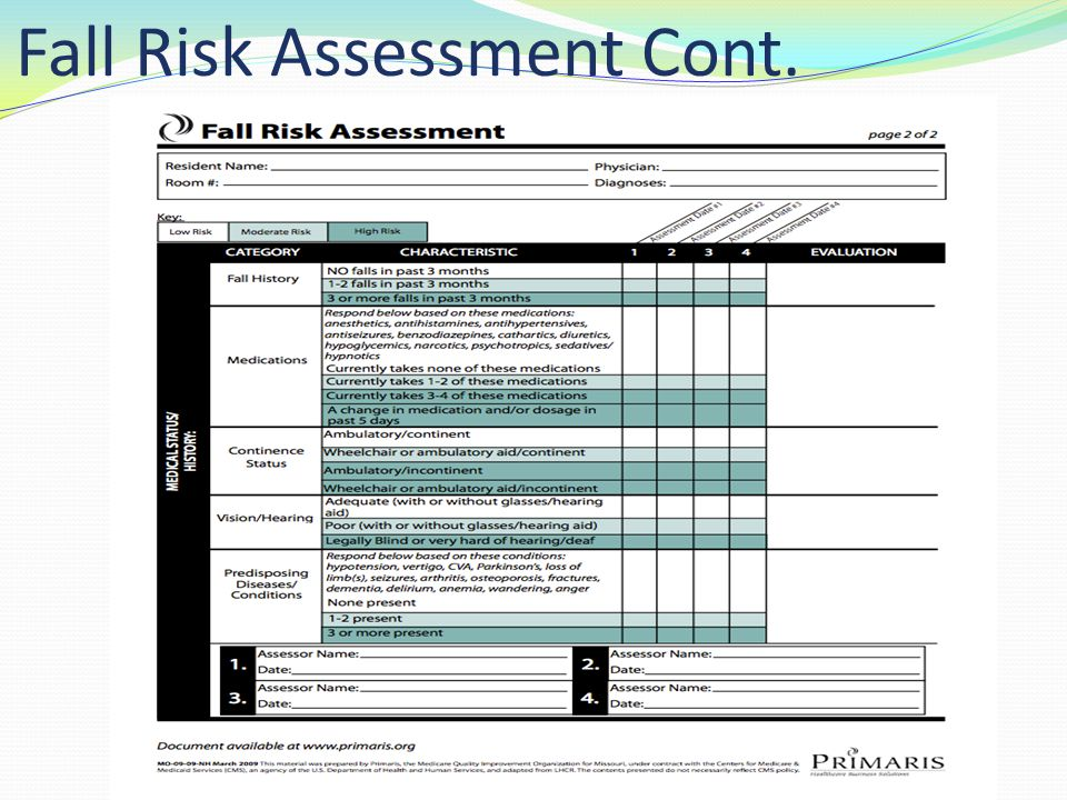 Fall Risk Assessment Cont.