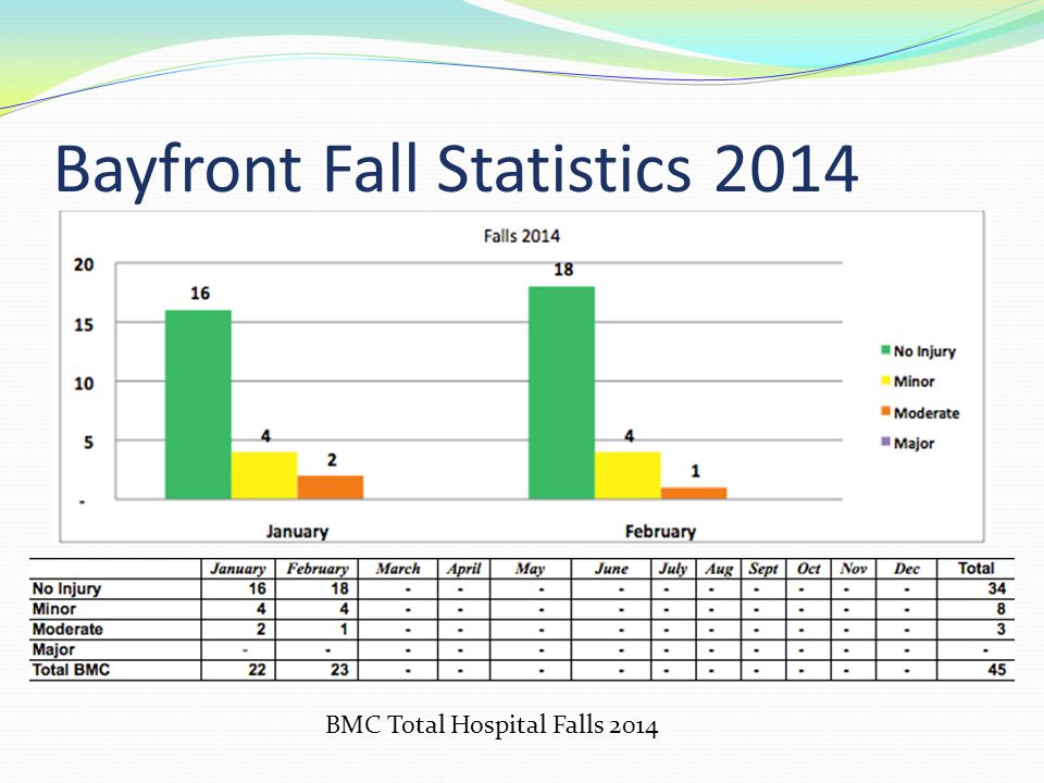 Bayfront Fall Statistics 2014 BMC Total Hospital Falls 2014