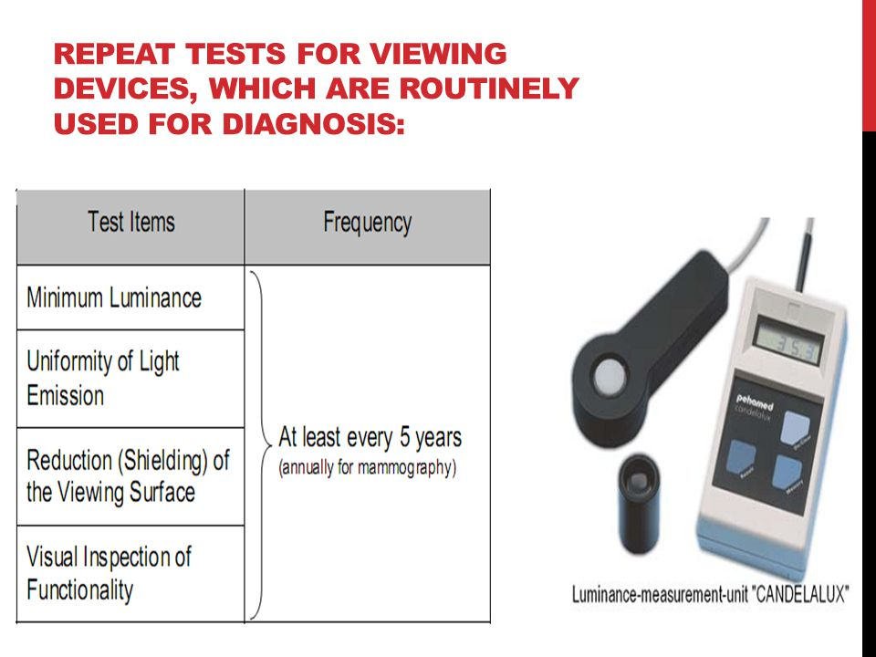 REPEAT TESTS FOR VIEWING DEVICES, WHICH ARE ROUTINELY USED FOR DIAGNOSIS: