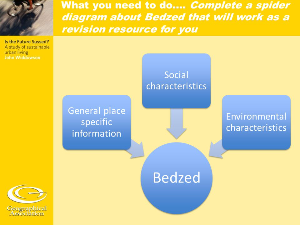 Bedzed General place specific information Social characteristics Environmental characteristics What you need to do…. Complete a spider diagram about B