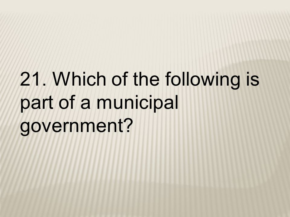 21. Which of the following is part of a municipal government?