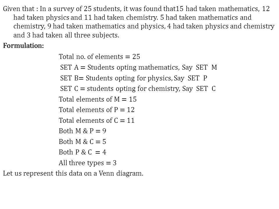 Given that : In a survey of 25 students, it was found that15 had taken mathematics, 12 had taken physics and 11 had taken chemistry.