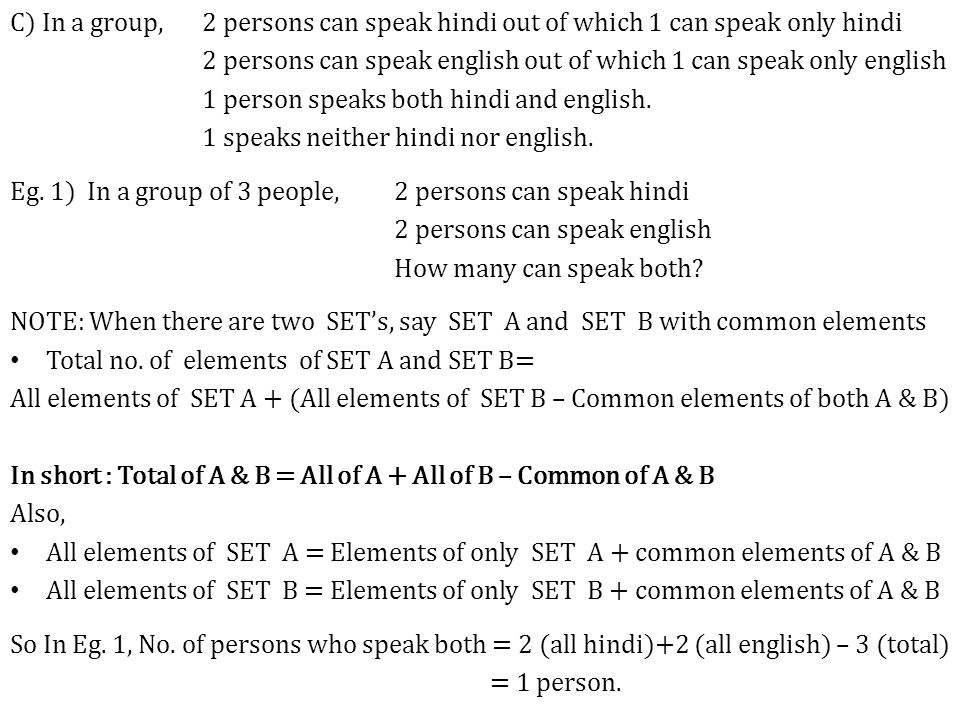 C) In a group, 2 persons can speak hindi out of which 1 can speak only hindi 2 persons can speak english out of which 1 can speak only english 1 person speaks both hindi and english.