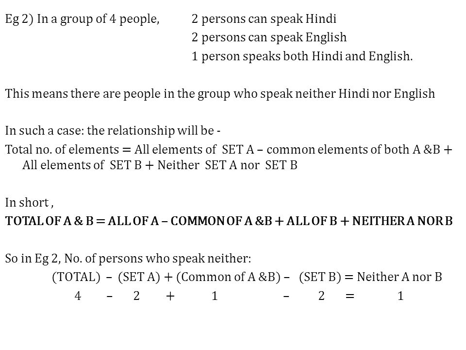 Eg 2) In a group of 4 people, 2 persons can speak Hindi 2 persons can speak English 1 person speaks both Hindi and English.