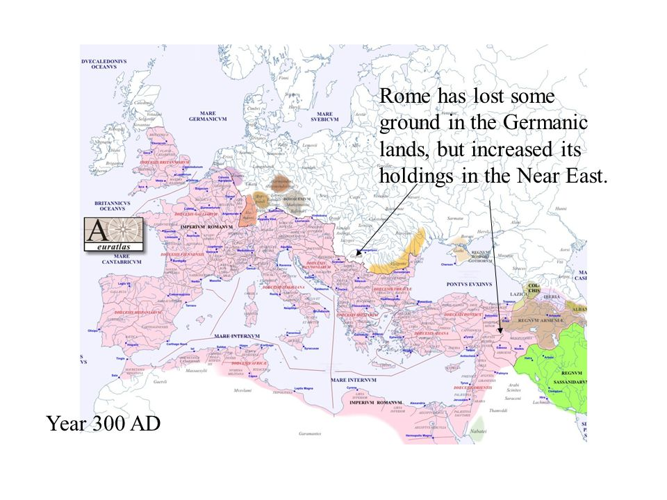 Rome has lost some ground in the Germanic lands, but increased its holdings in the Near East.