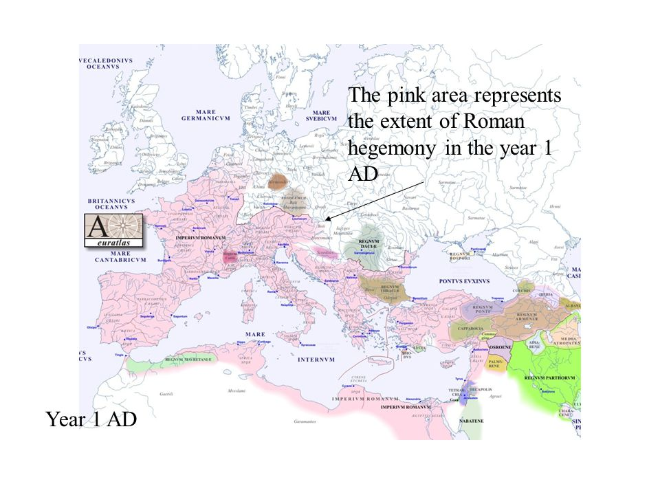 Year 1 AD The pink area represents the extent of Roman hegemony in the year 1 AD
