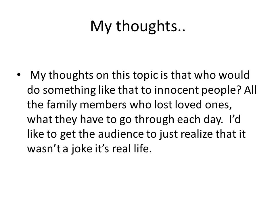 My thoughts..