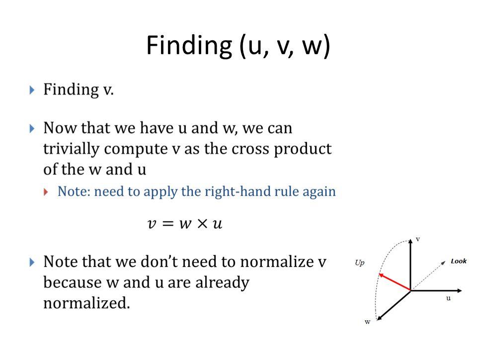 Finding (u, v, w)