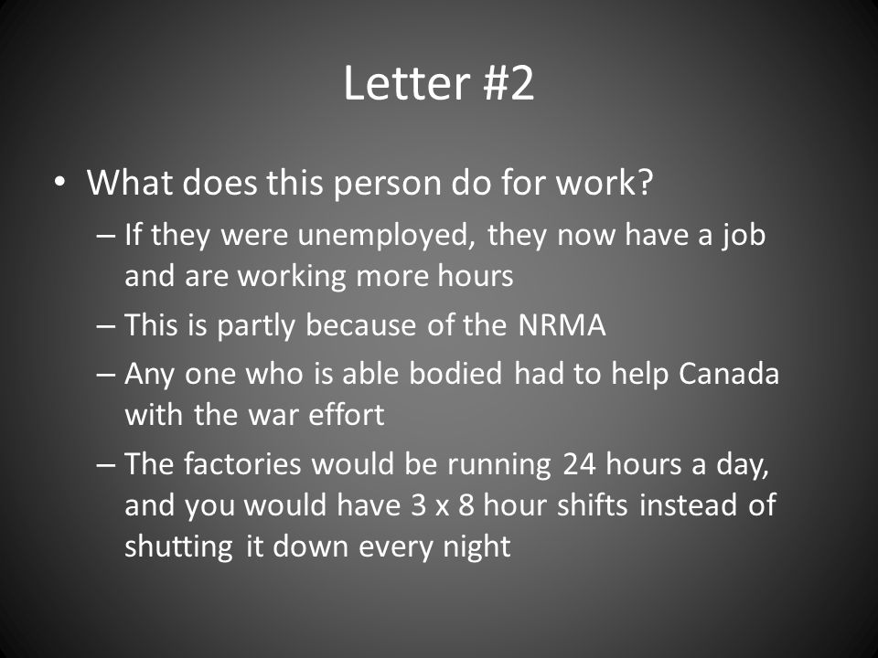 Letter #2 What does this person do for work.