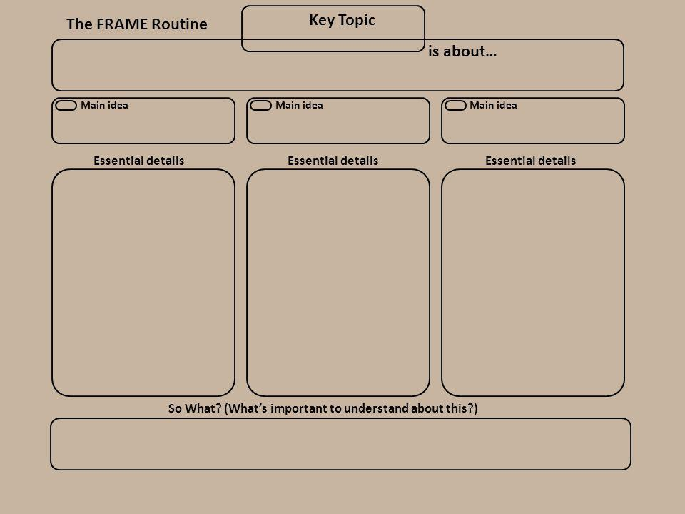 The FRAME Routine Key Topic Main idea is about… So What? (What's important to understand about this?) Essential details Main idea Essential details Ma