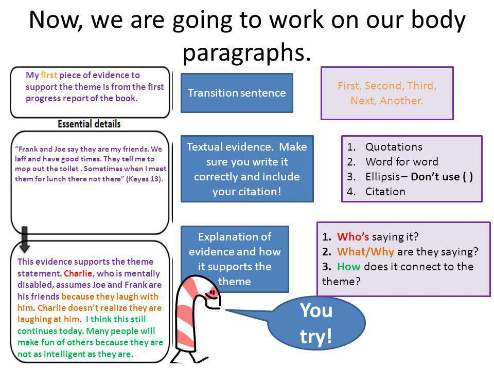 Now, we are going to work on our body paragraphs. Transition sentence Textual evidence.